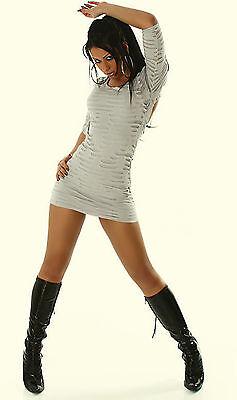 Stretchkleid Kleid Risse grau hellgrau 40 Minikleid Stiefelkleid kurz Partykleid