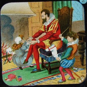 Glass Magic Lantern Slide ELIZABETHAN FAIRY TALE NO2 C1890 FAMILY BY FIRE - Cornwall, United Kingdom - Glass Magic Lantern Slide ELIZABETHAN FAIRY TALE NO2 C1890 FAMILY BY FIRE - Cornwall, United Kingdom