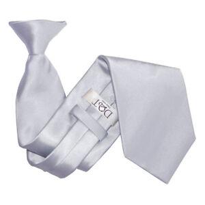 Silver-Mens-Clip-On-Tie-Satin-Plain-Solid-Formal-Wedding-Necktie-by-DQT