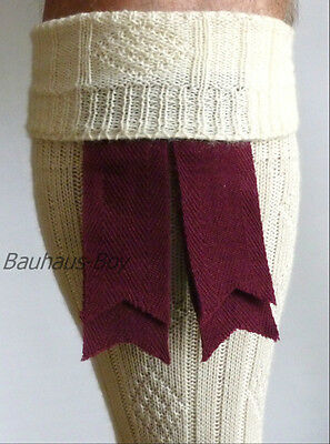 KILT HOSE SOCK FLASHES MAROON DOUBLE RIBBON WOOL HIGHLANDWEAR FOR SCOTTISH KILTS