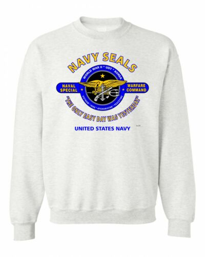 """NAVY /""""THE ONLY EASY DAY WAS YESTERDAY/"""" BATTLE /& CAMPAIGN SWEATSHIRT SEALS-U.S"""