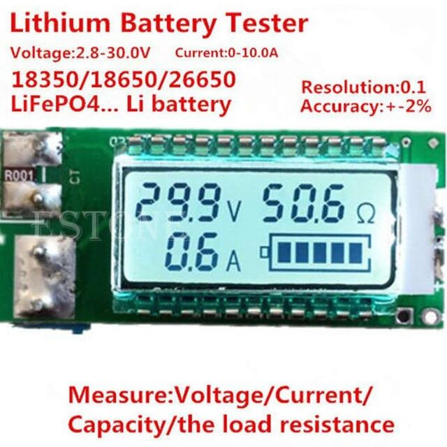 LCD Lithium Li-ion 18650 26650 battery tester Capacity Current Voltage meter New