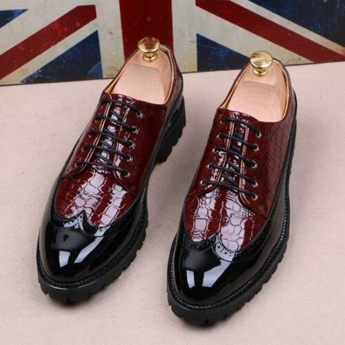 New Fashion Mens Brogue Oxfords Pointed Toe Lace up Business Formal Dress Shoes