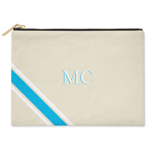 monogramme et bleues rayures blanches avec Pochette initiales ᄄᄂ personnalisᄄᆭes ywmNvn0O8