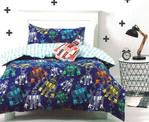 Robot-World-Quilt-Cover-Doona-Duvet-Cover-Set-Kids-Boys-Robots-Bedding-New