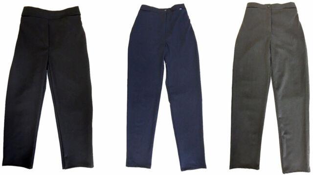 "Girls Sturdy Fit School Trousers Generous Fit Half Elasticated  25/""-40/"" Waist"