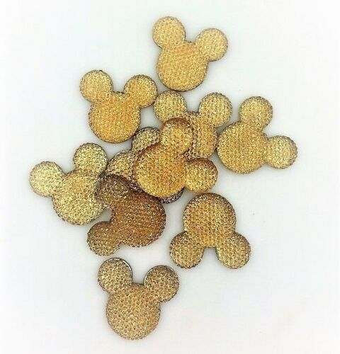 x10 Gold Sparkle Glitter Mouse Ears Charms Dummy Clips