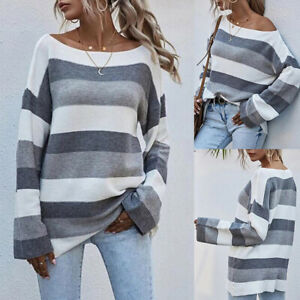 Women-039-s-Striped-Long-Sleeve-Sweater-Tops-Ladies-Casual-Loose-Pullover-Jumper