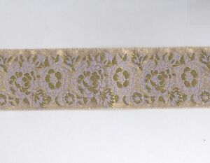Pink-amp-Gold-Floral-on-Gold-Jacquard-Embroidered-Ribbon-Trim-1-yd-x-1-5-034-Wide