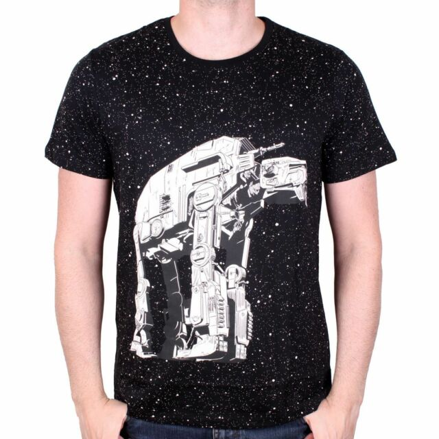 OFFICIAL STAR WARS - AT-AT WALKER PRINT PAINT DROPS (STARS) BLACK T-SHIRT (NEW)