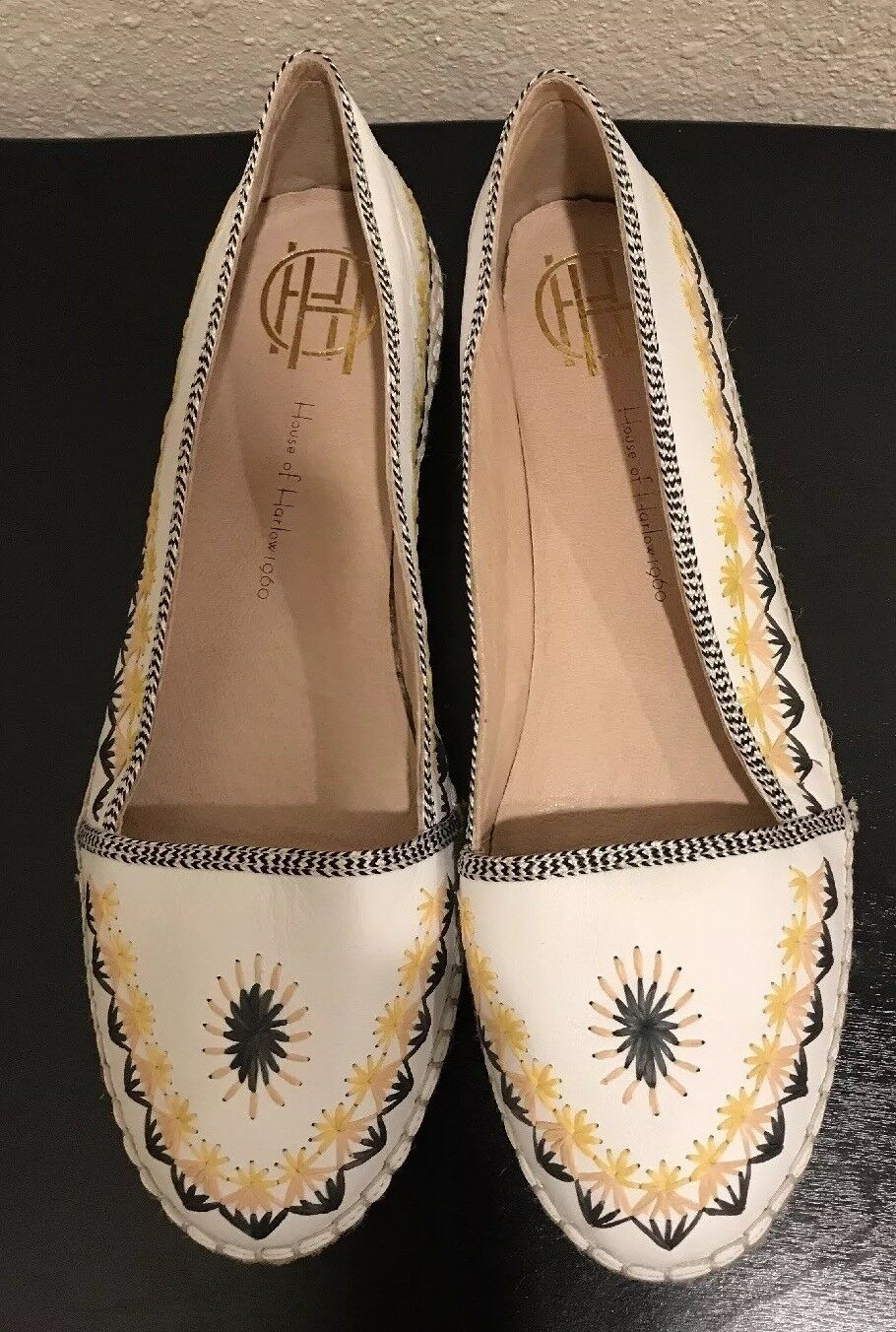 House Of Harlow 1960 Kole Flats Espadrilles Embrodierouge blanc Leather Jute 38