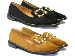 8155969bf893 Image is loading Womens-Loafers-Flats-Wide-Fitting-Suede-Buckle-Stone-
