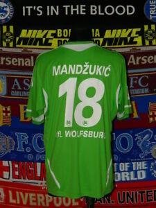 outlet store 4fc63 3e5d2 Details about 4.5/5 VfL Wolfsburg adults XL 2011 #18 Mandžukić original  football shirt jersey