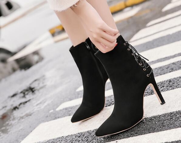 botas negro fafion élégant tacón de aguja 9.5 perno como piel 8671