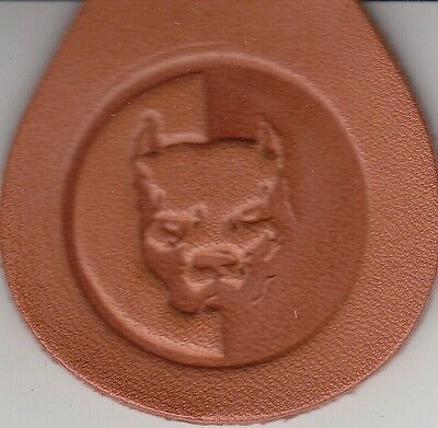 Pitbull two tone stamp. Delrin laser engraved clicker stamp