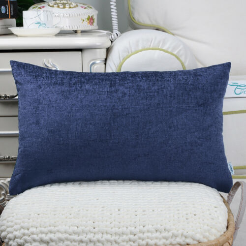 2Pcs Navy Blue Bolster Covers Pillows Shells Dyed Soft Chenille Car Sofa 12x20/""