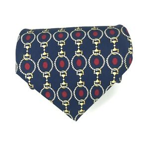 SCAPPINO-Tie-Men-039-s-Navy-Blue-Red-Gold-Elegant-Print-Silk-Necktie-3-75-034-x-56-034