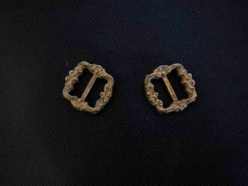 Small brass buckles for antique German or French doll or crafts