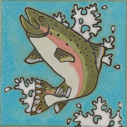 Ceramic Tile Rainbow Trout Fish hot plate wall decor installation backsplash