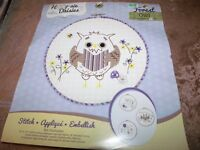 Hoop-sie Daisies Owl Embroidery And Applique Kit With Buttons & Frame Hoop