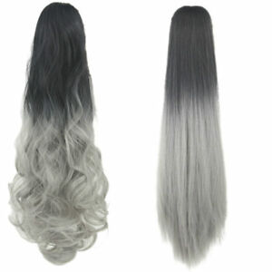 Lady-Silver-Gray-Ombre-Curly-Straight-Ponytail-Clip-on-Hair-Extensions-Women