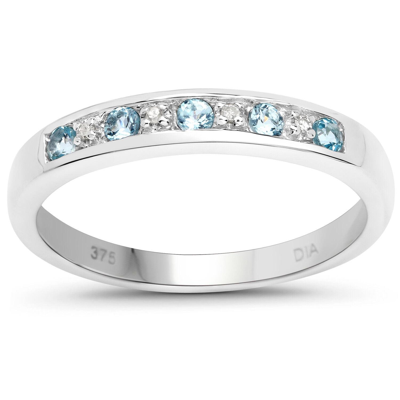 9ct White gold bluee Topaz & Diamond 3mm Slim width Eternity Ring Size JKMNPQRSTU