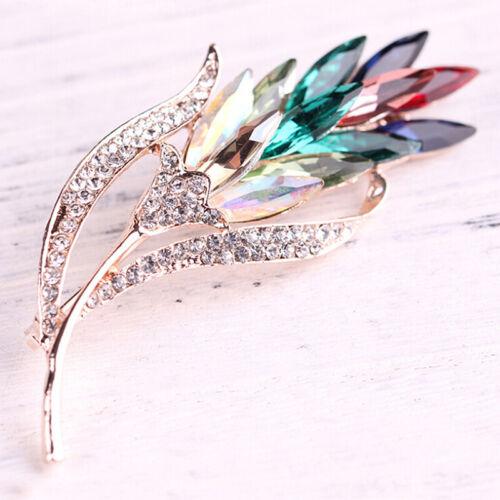 Crystal Rhinestone Wheat Brooch Pin Women Jewelry Coat Flower Wedding Bridal ML