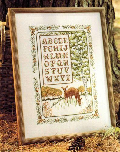 ✔️ WOODLAND North Woods Deer Sampler Cross Stitch Chart ABC/'s