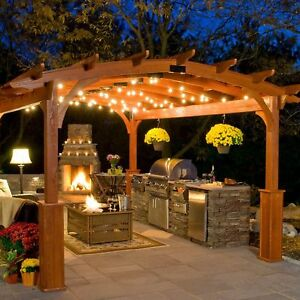 Details About 25 Ft Pergola Lights Gazebo Rv Patio Outdoor String Exterior Hanging Lighting