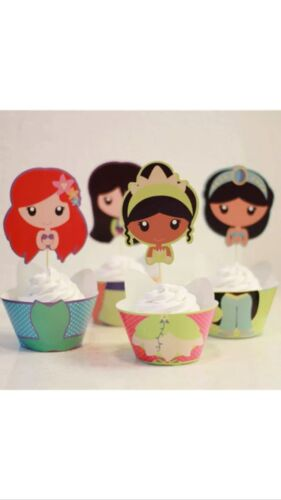 Wrappers 12 pcs Disney Princess Cupcake EXTRA LARGE Toppers Jelly Cups TIANA