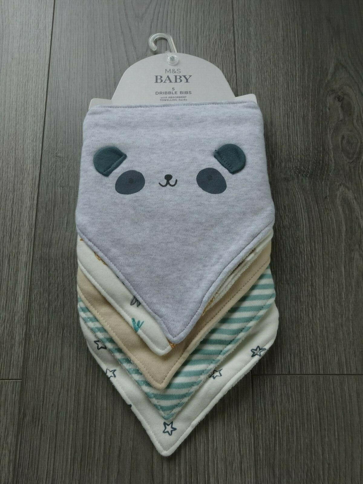 M&S 5 PACK MARKS & SPENCER BABY ORGANIC COTTON GREY MULTI MIX DRIBBLE BIBS