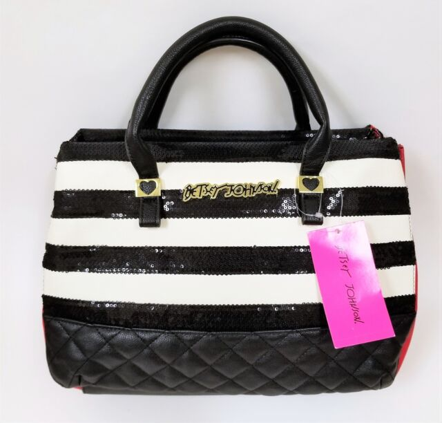 New Betsey Johnson White Black Quilted Sequins Stripe Red Pvc Gold