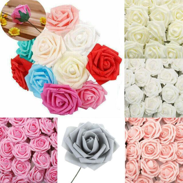 50pcs 7cm Foam Rose Artificial Flowers Wedding Party Bridal Bouquet Decoration