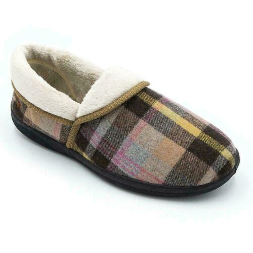 Padders MELLOW Ladies Microsuede  Extra Wide 2E Fitting Slippers Beige//Combi