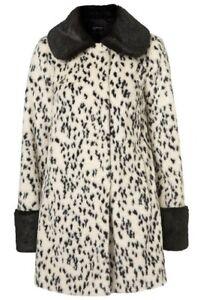 c8897968dfd bnwt topshop uk size 10-12 faux fur off white dalmation print coat ...