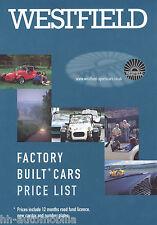 Preisliste Westfield Factory Build Cars 2001 GB price list Preise Autopreisliste