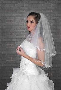 New-2T-White-Ivory-Wedding-Bridal-Elbow-Veil-Length-28-034-Lace-Edge-amp-Crystals