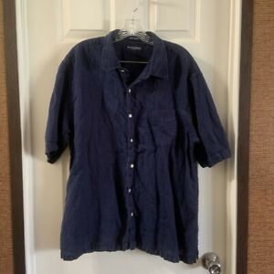 Austin Reed Men S Navy Blue Button Up Short Sleeve Shirt Size L Ebay