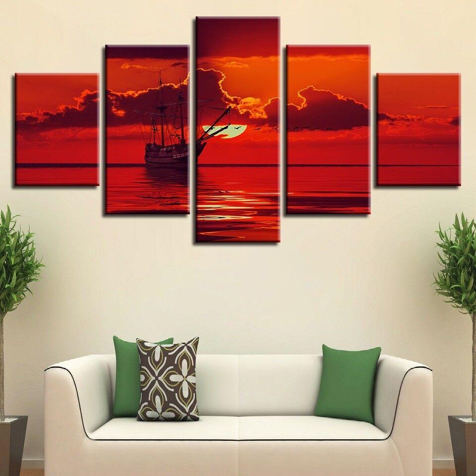 Boat rot Sky Sunset 5 Panel Canvas Print Wall Art