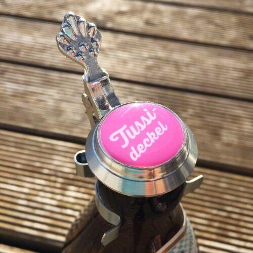 Zinndeckel für Flasche Tussideckel pink