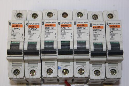 C32 MERLIN GERLIN SINGLE POLES C2 C20 C40 AND C63 C6 C10 C16 C25