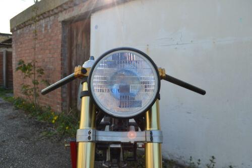 "Headlight for Yard Build Cafe Racer /& Scrambler Matt Black Steel 12v 55W H4 7.7/"""