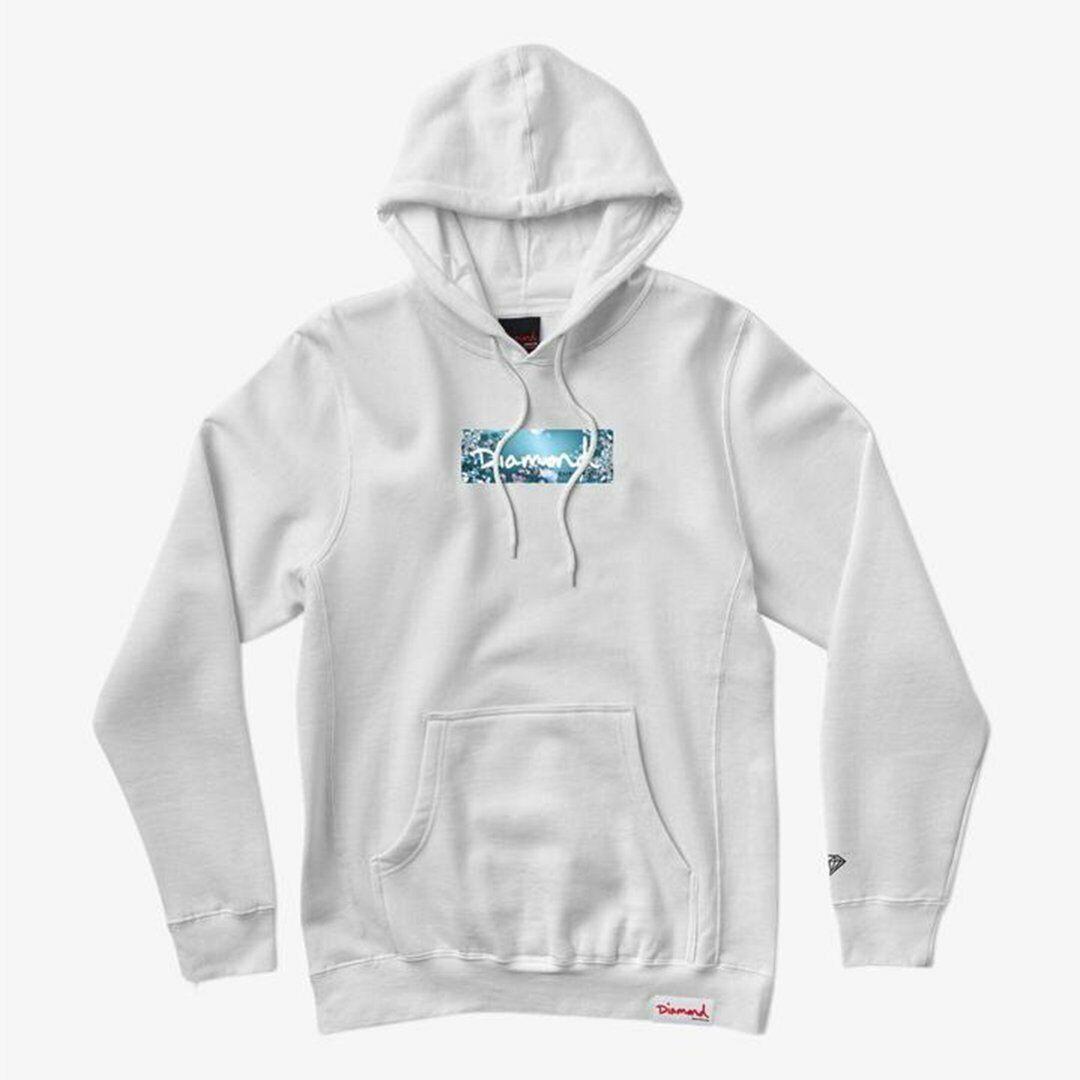 Diamond Supply Co Flower Box Logo Hoodie White