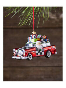Mackenzie-Childs-VACATION-SANTA-w-Courtly-Check-Blown-Glass-ORNAMENT-New-m19-2