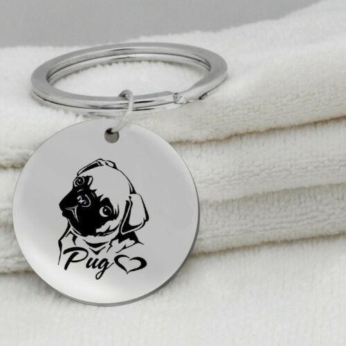 Pug Heart Dog Canine Black Silver Stainless Steel Keychain