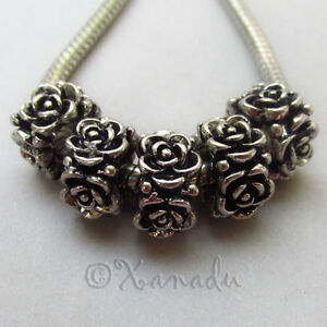 Flower Wholesale Silver Plated European Large Hole Beads B4729 - 5, 10 Or 20PCs