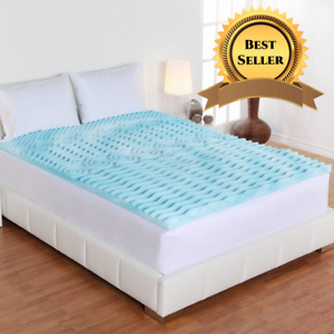 "Full Size Cooling Foam Bed Mattress Topper Soft Convoluted 2/"" Orthopedic NEW"