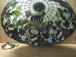 Large Beautiful Vintage Tiffany Style Stained Glass Shade W Chandelier Fixture Ebay
