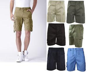 MENS-PLAIN-ELASTICATED-SHORTS-COTTON-CARGO-COMBAT-SUMMER-HOLIDAY-CASUAL-PANTS