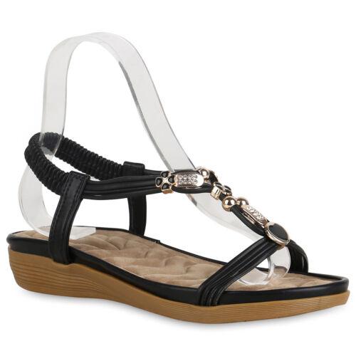 Damen Keilsandaletten Strass Sandaletten Keilabsatz Sommer Schuhe 822601 Schuhe